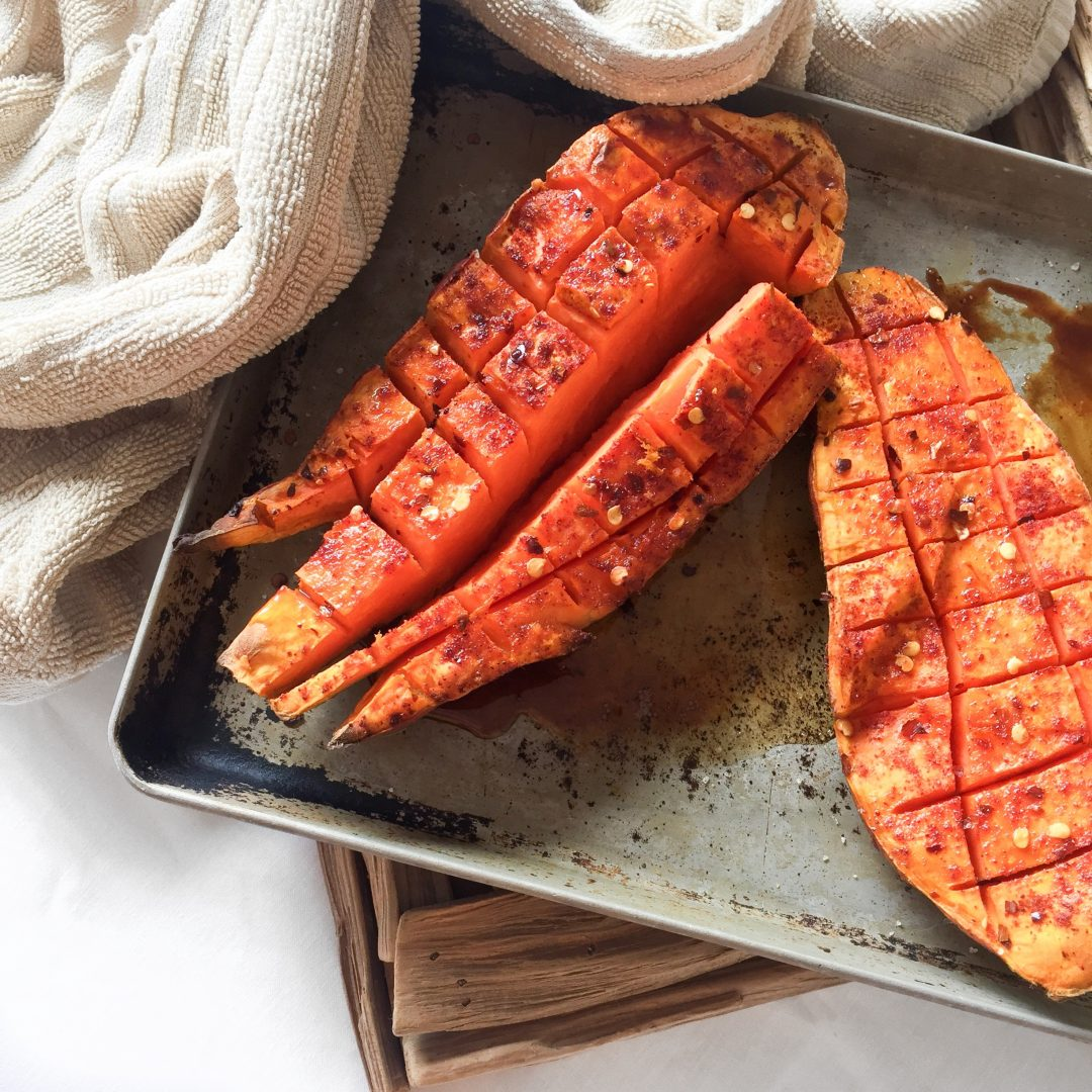 The easiest and most delicious roasted sweet potato recipe. You'll probably find yourself makint this multiple times a week!